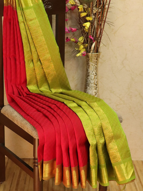 10 yards silk cotton jacquard saree red and green with traditional zari woven border