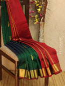 10 yards silk cotton saree green and maroon with zari woven buttas and border