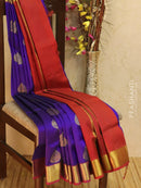 10 yards silk cotton saree violet and maroon with zari woven buttas and border