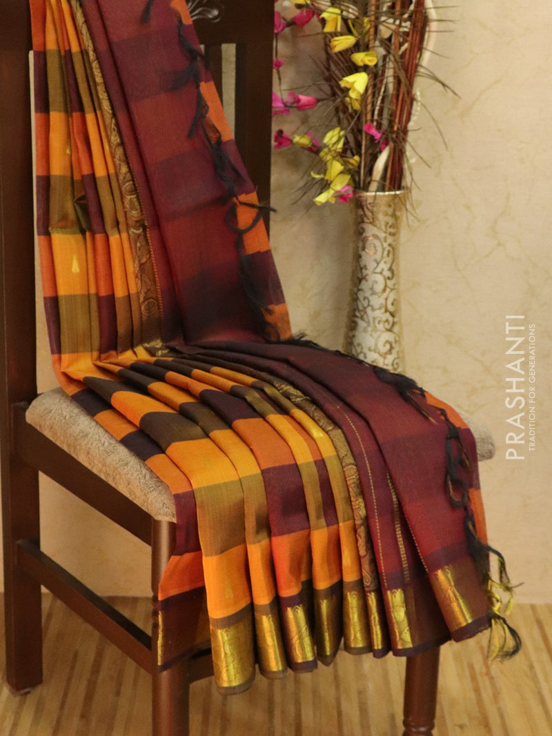 10 yards silk cotton saree yellow and deep maroon paalum pazhamum checks with zari woven buttas and border