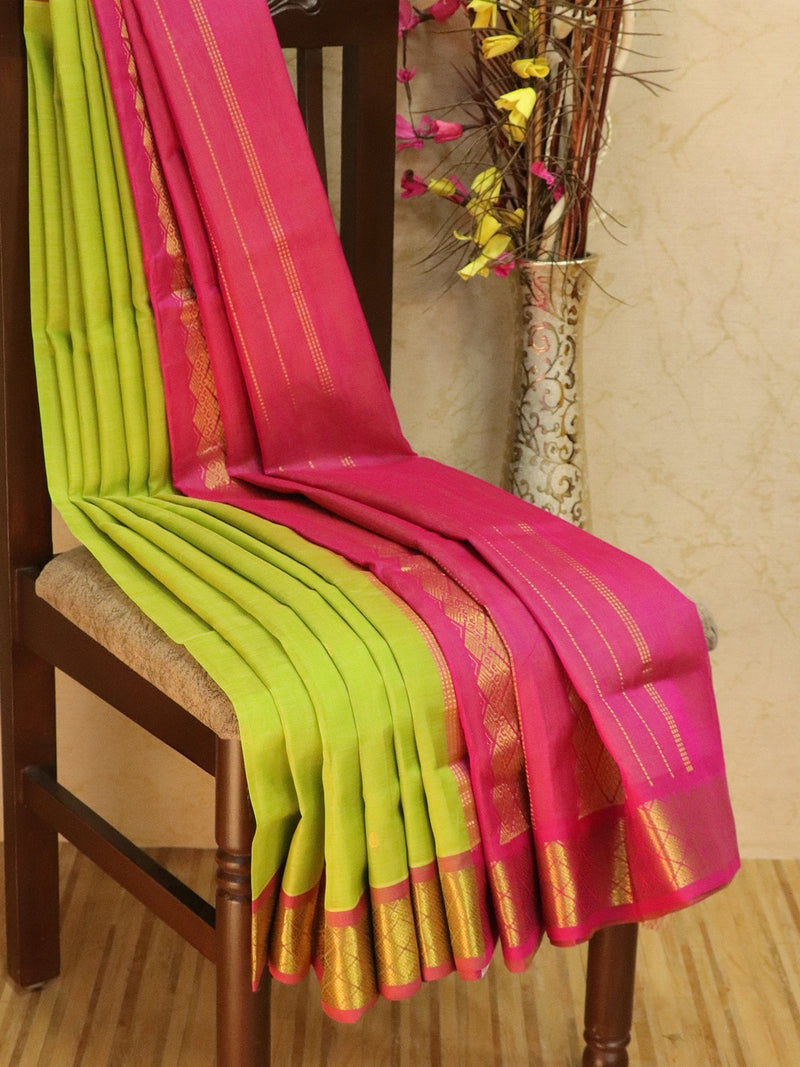 10 yards silk cotton saree lime green and pink with zari woven buttas and border