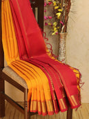 10 yards silk cotton saree yellow and red with traditional zari woven border