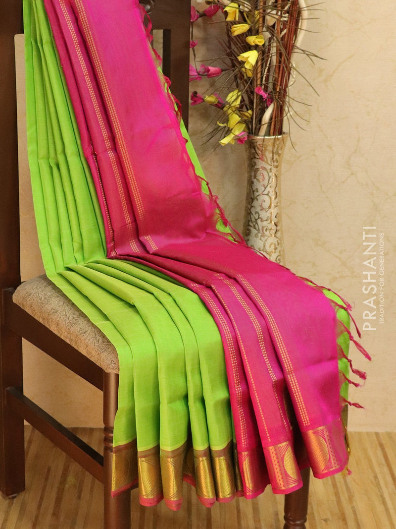10 yards silk cotton saree pista green and pink with traditional zari woven border