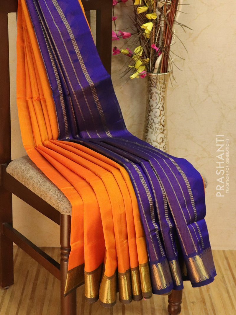 10 yards silk cotton saree yellow and violet with zari woven border