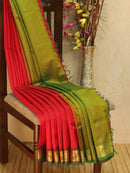 10 yards silk cotton saree red and green with traditional zari woven border