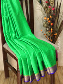 Pure Mysore Crepe silk saree green and blue with all over self emboss and rich zari border