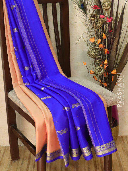 Pure Mysore Crepe silk saree chiku and blue with rich zari border