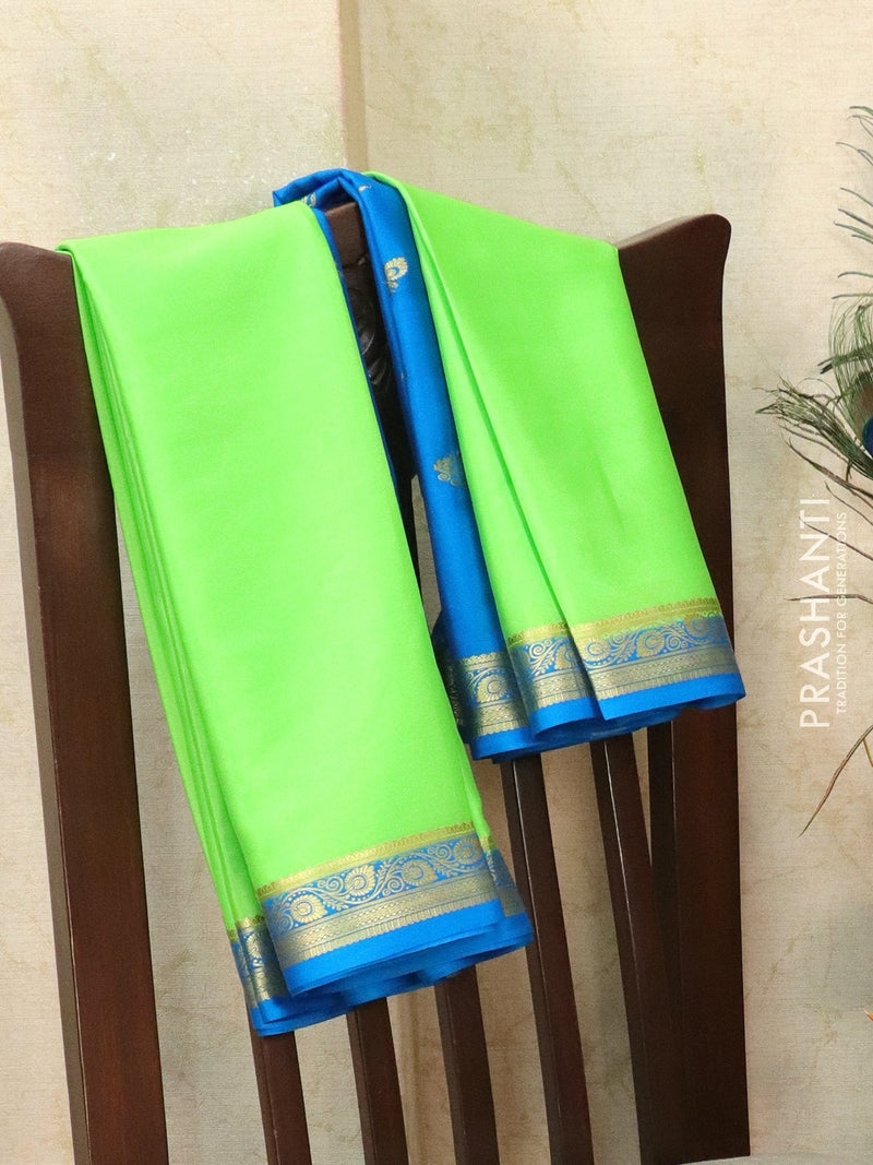 Pure Mysore Crepe silk saree pista green and cs blue with rich zari border