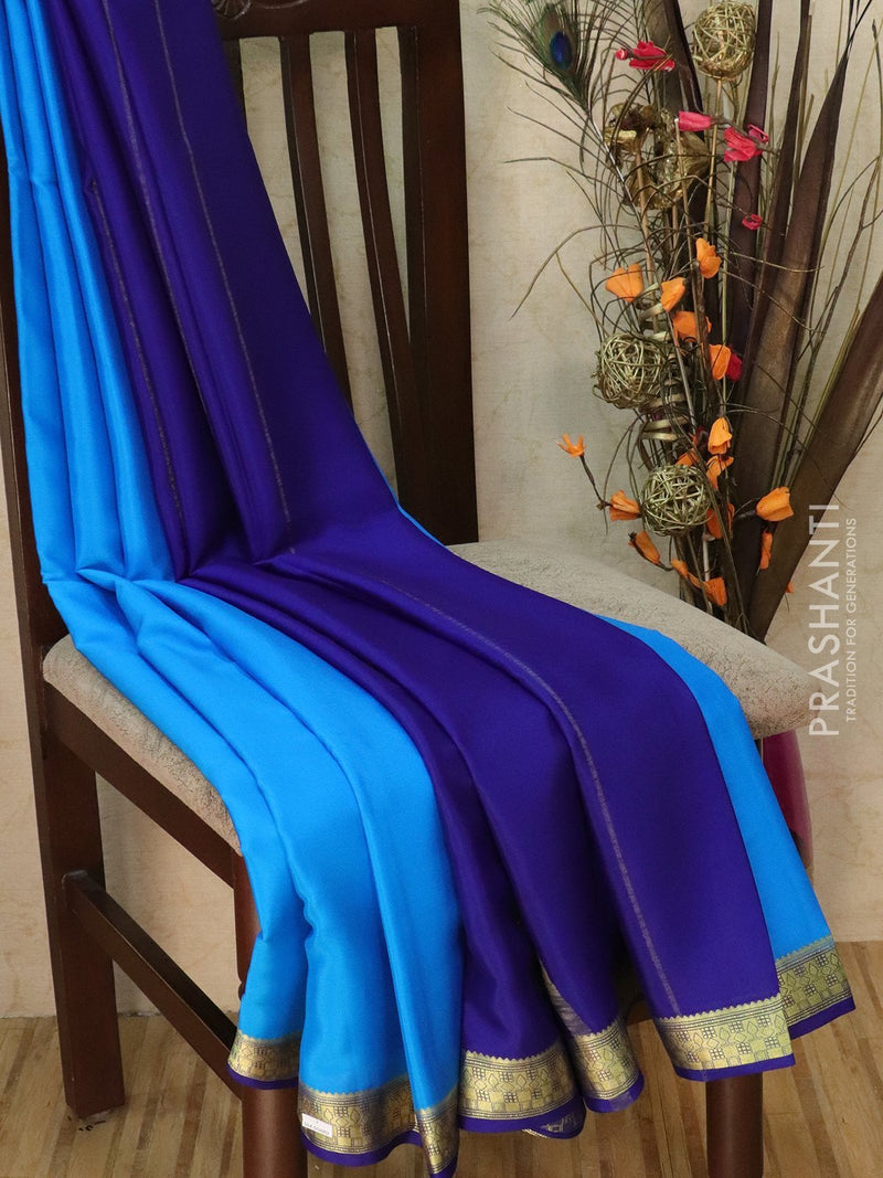 Pure Mysore Crepe silk saree cs blue and blue with rich zari border