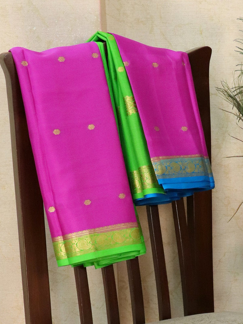 Pure Mysore Crepe silk saree pink and green with small zari buttas and rich zari ganga jamuna border