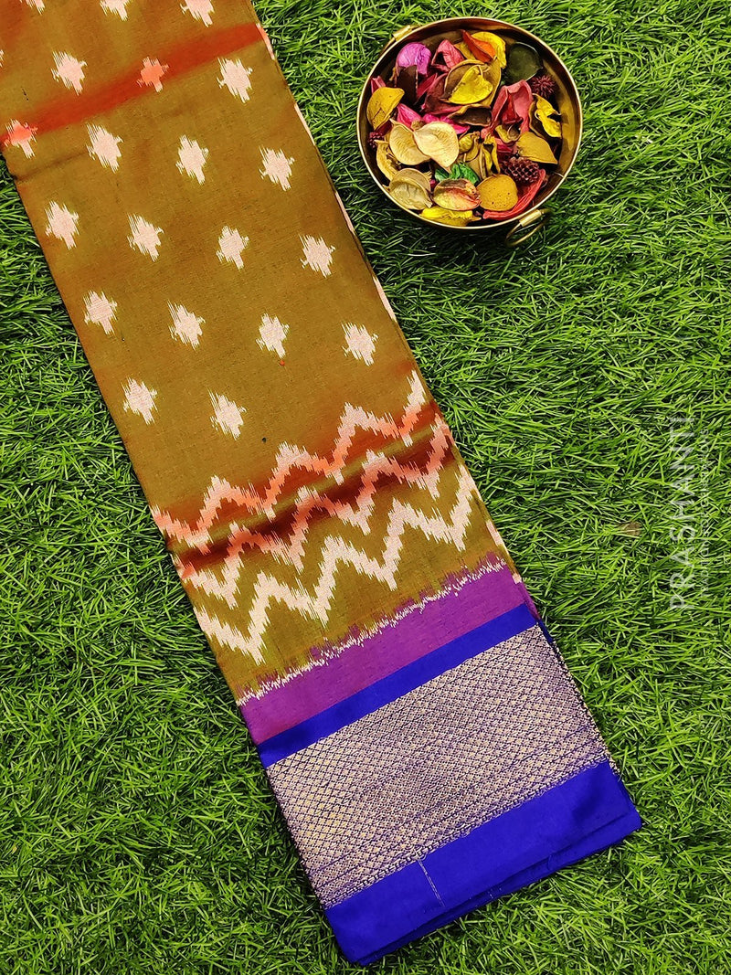Pure ikat silk pavadai sattai material dual shade of green and violet with ikat weaves and zari border for 0 to 2 years