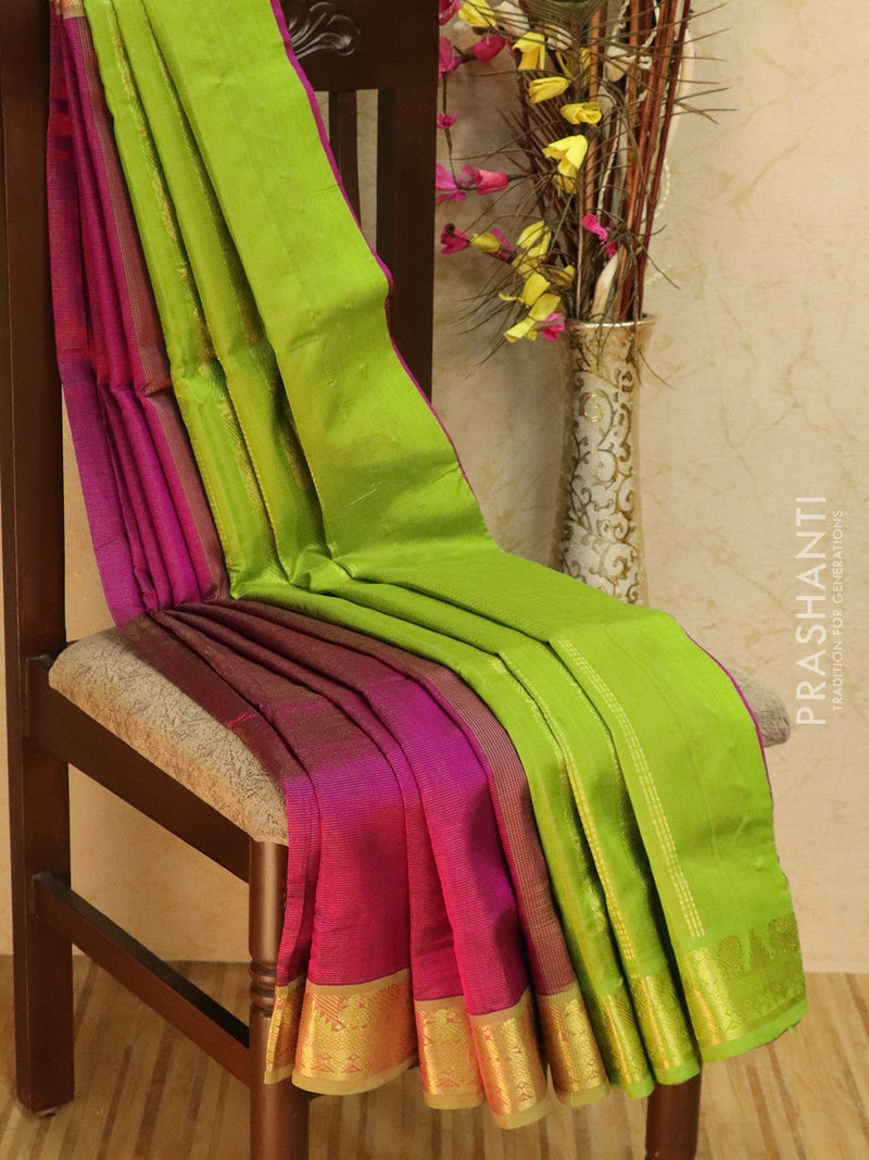 10 yards silk cotton saree magenta pink and green vairaosi with zari woven border