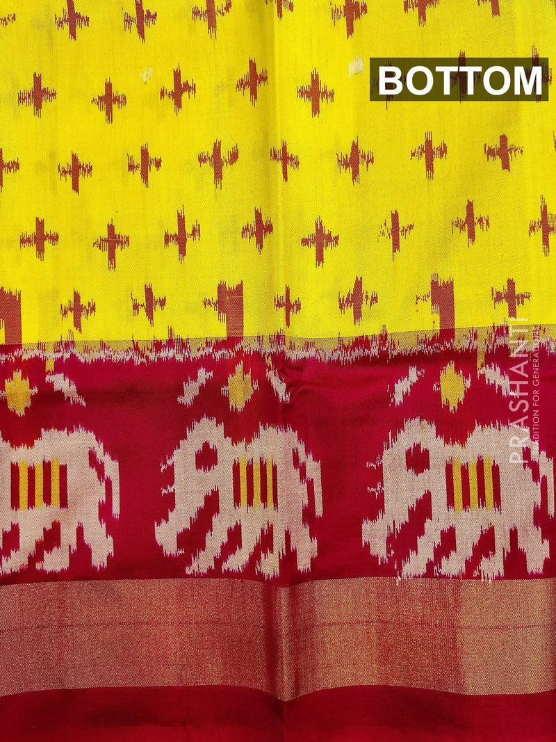 Pure ikat silk pavadai sattai material lime yellow and pink with ikat weaves and zari border for 0 to 2 years