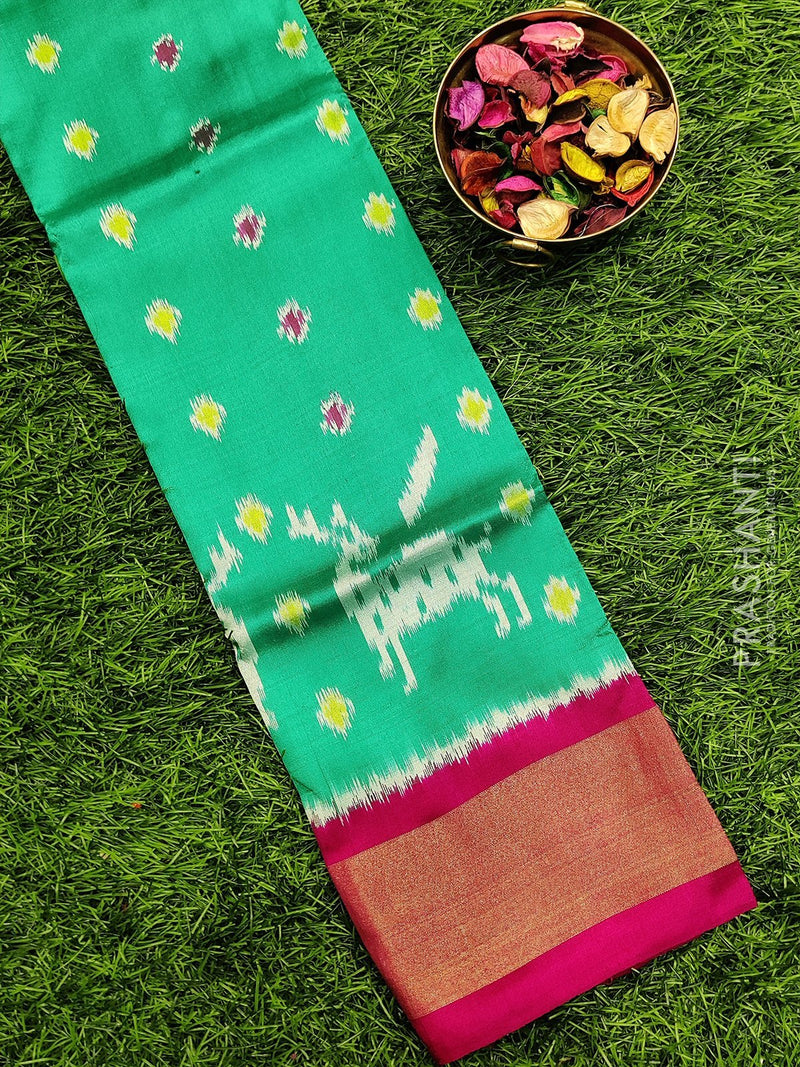 Pure ikat silk pavadai sattai material green and pink with ikat weaves and zari border for 0 to 2 years