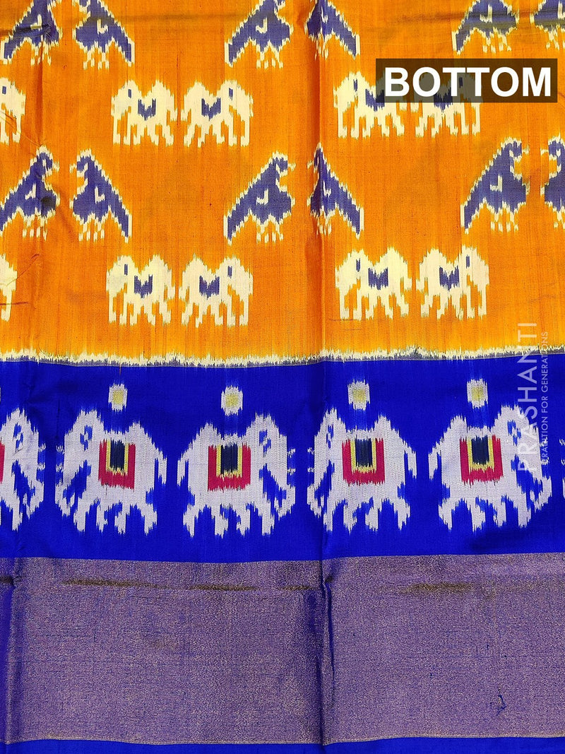 Pure ikat silk pavadai sattai material yellow and blue with ikat weaves and zari border for 3 to 7 years