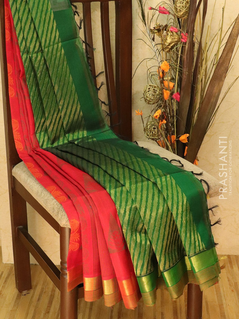 Light Weight Silk Cotton Saree red and bottle green with allover thread weaves and rich pallu