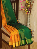 Light Weight Silk Cotton Saree mustard and bottle green with allover thread weaves and rich pallu