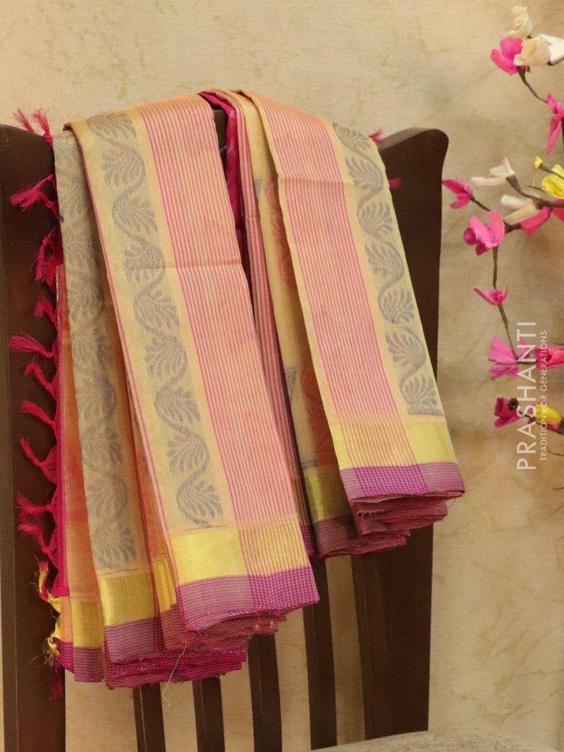 Light Weight Silk Cotton Saree beige and pink with allover thread weaves and rich pallu