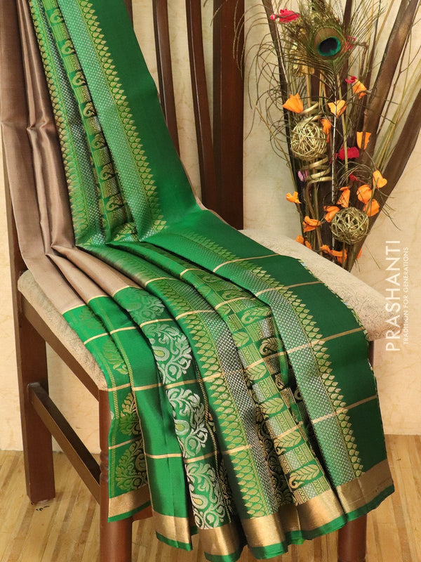 Pure Soft silk saree dark beige and green with zari buttas and checked zari border