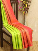 Pure Soft silk saree green and dual shade of orange with geometric buttas in borderless style