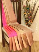 Pure Soft silk saree pink and dark beige with small zari buttas and border