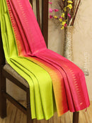 Pure Soft silk saree light green and pink with allover zari weaves in borderless style