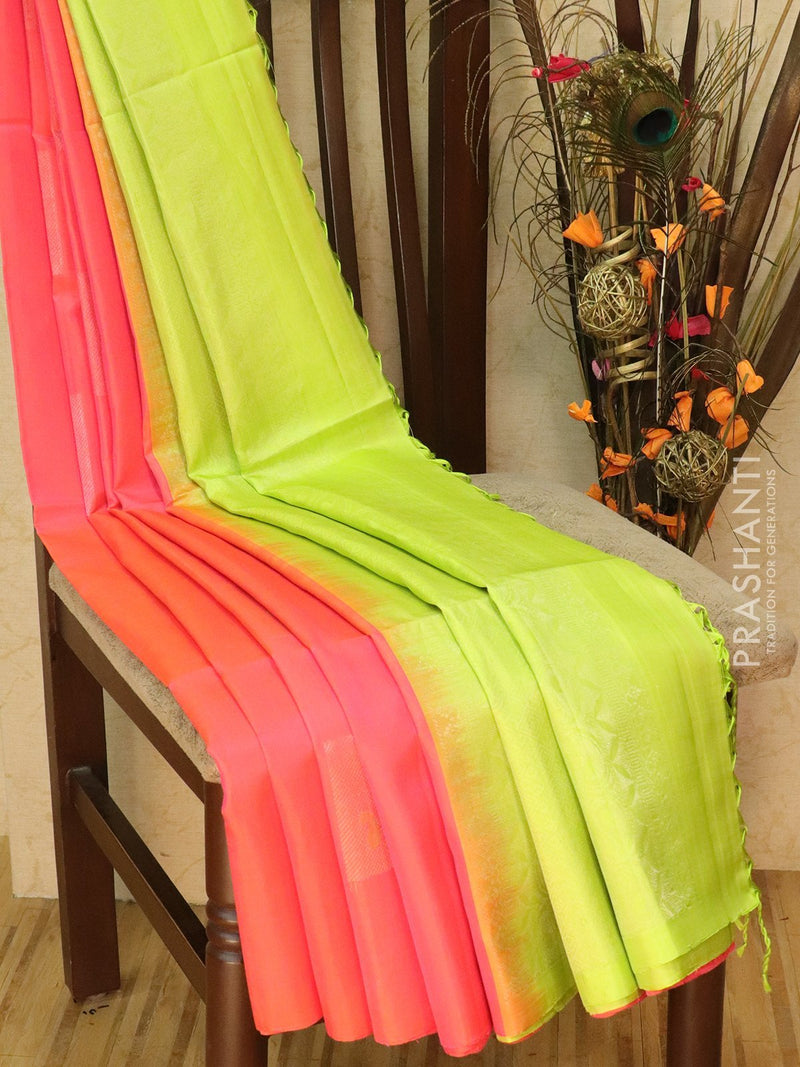 Pure Soft silk saree peachish pink and light green with thread and zari woven buttas in borderless style