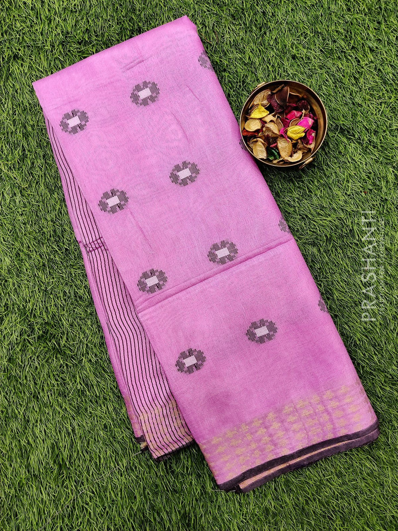 Semi silk bhagalpuri saree pink with thread woven buttas and zari border