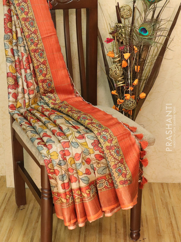 Pure tussar silk saree beige and orange with allover digital prints and simple border