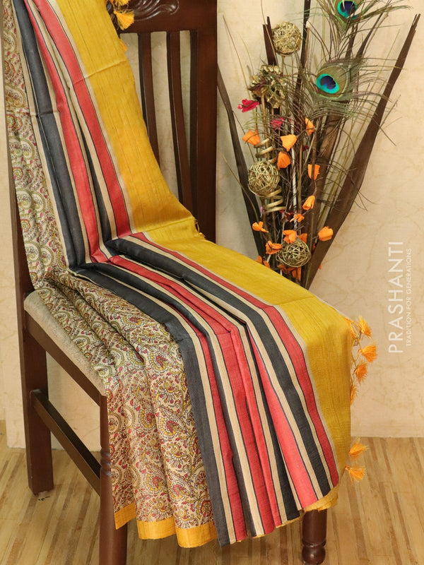 Pure tussar silk saree beige and mustrad yellow with allover screen prints and simple border