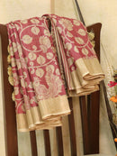 Pure tussar silk saree maroon and beige with allover screen prints and simple border