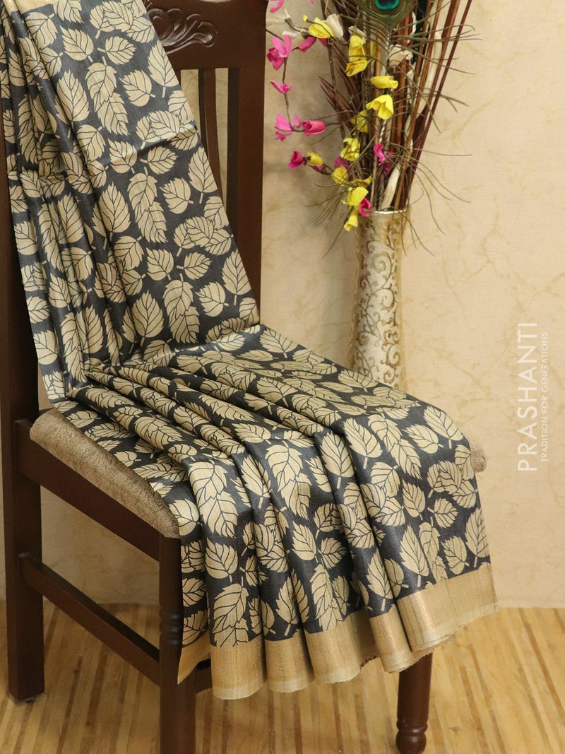 Pure tussar silk saree black and beige with allover screen prints and simple border