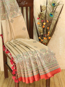 Pure tussar silk saree beige and red with allover screen prints and simple border