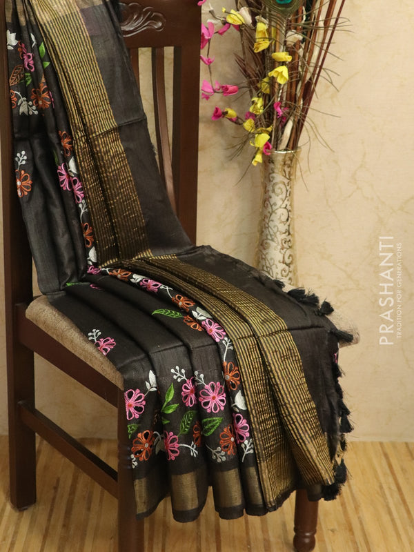 Pure tussar silk saree black with cut work and golden zari border