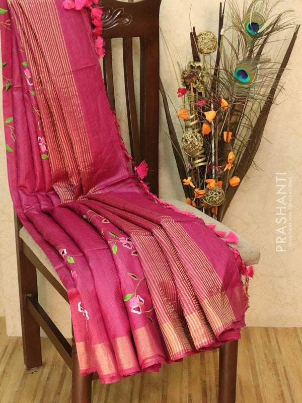 Pure tussar silk saree magenta pink with cut work and golden zari border
