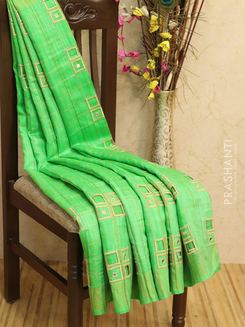 Pure tussar silk saree parrot green with cut work and golden zari border