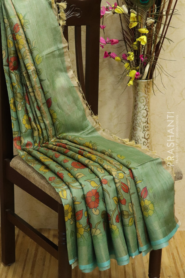 Pure tussar silk saree pastel shade of green with allover digital prints and simple border