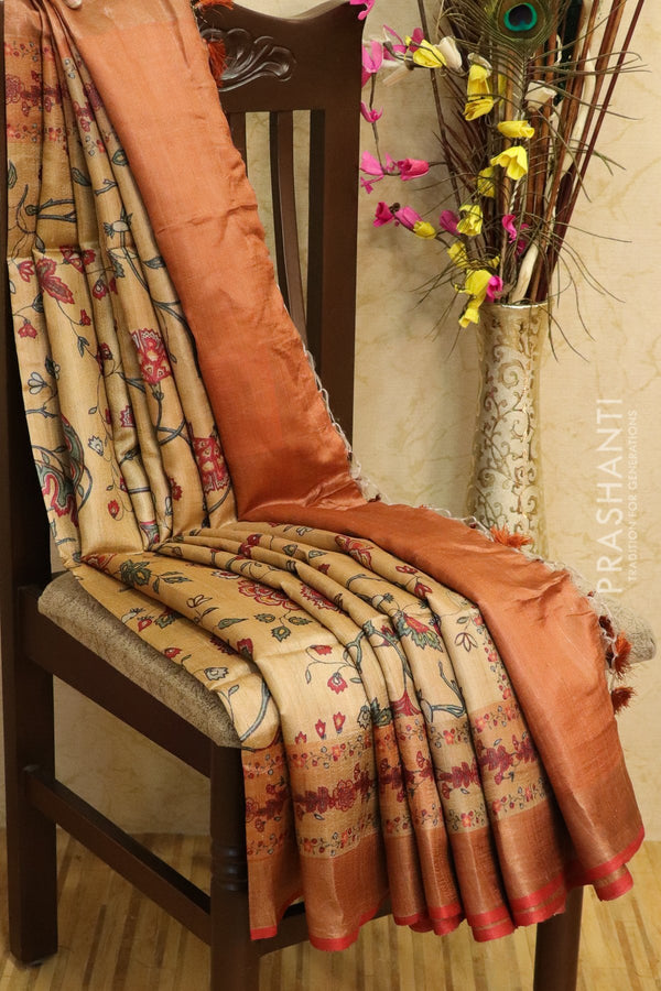Pure tussar silk saree beige and rust with allover digital prints and simple border