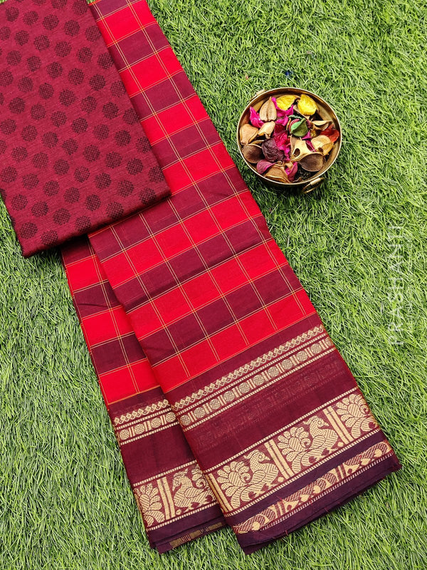 Chettinad cotton saree red and maroon with thread woven border and woven blouse
