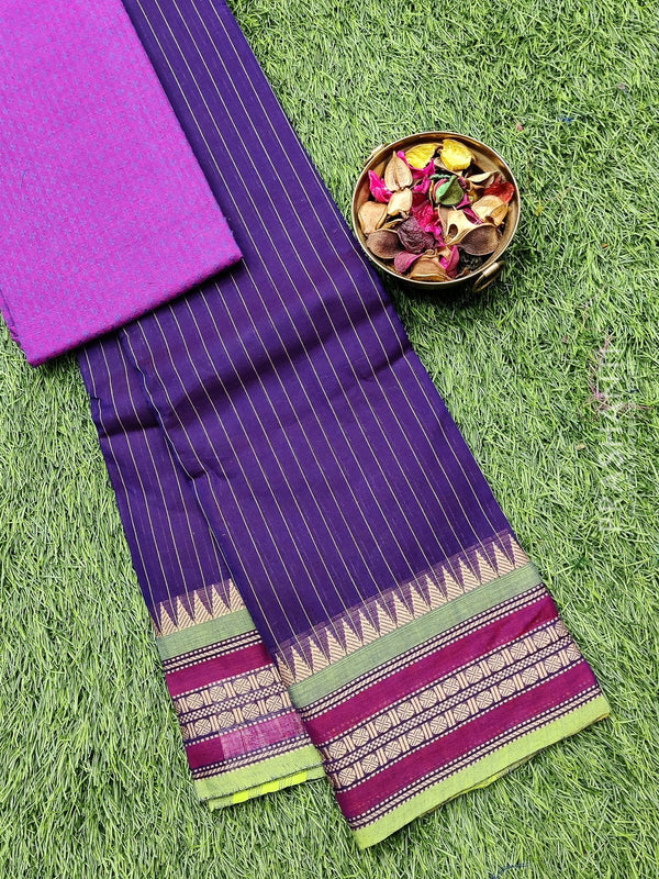 Chettinad cotton saree violet and purple with thread woven border and woven blouse