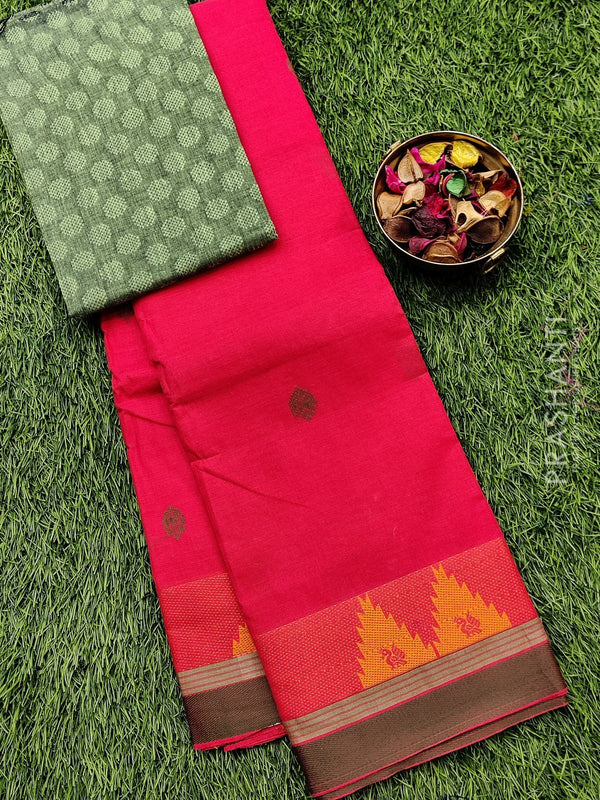 Chettinad cotton saree peach and green with thread woven border and woven blouse