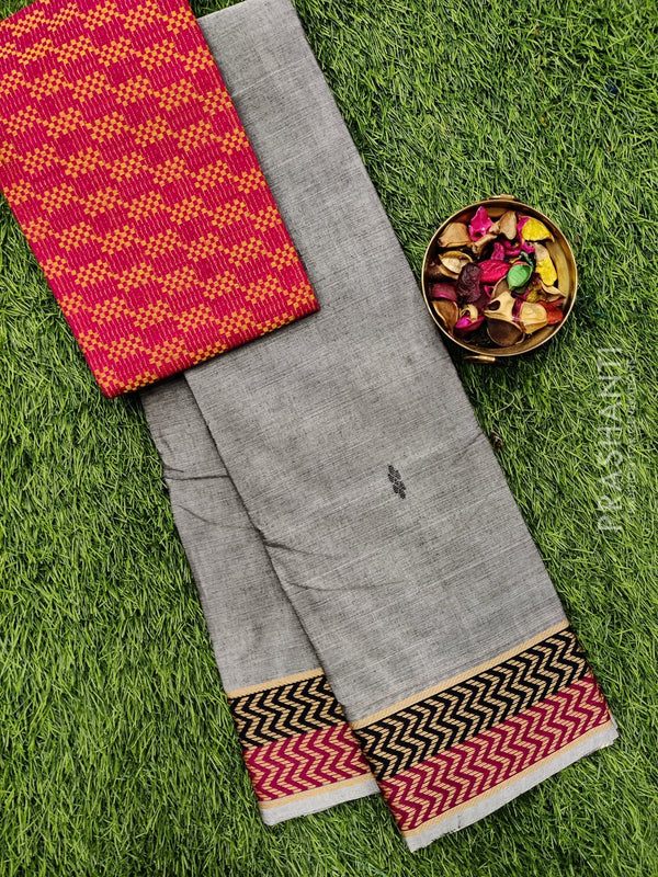 Chettinad cotton saree grey and pink with thread woven border and woven blouse