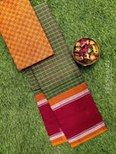 Chettinad cotton saree maanthulir green and maroon with thread woven border and woven blouse