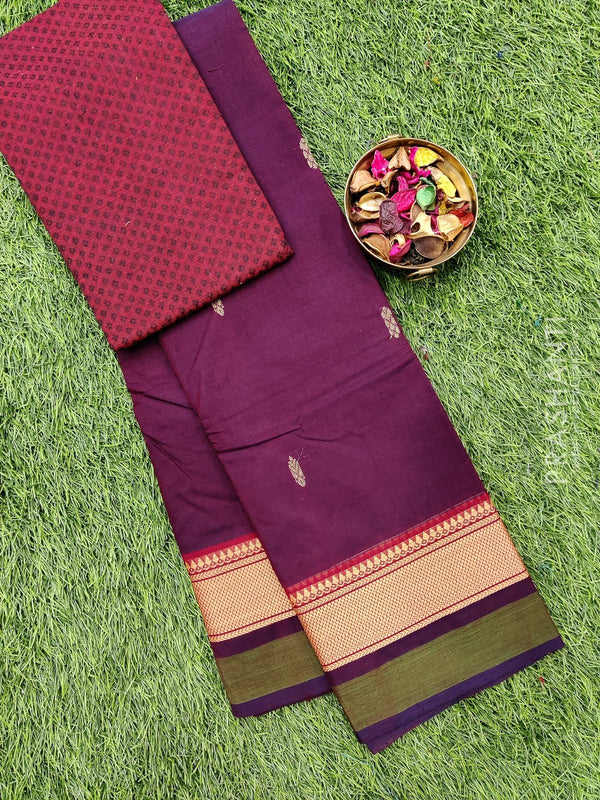 Chettinad cotton saree deep maroon with thread woven border and woven blouse
