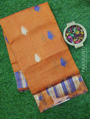 Semi Linen Saree rust orange with thread woven buttas in borderless style