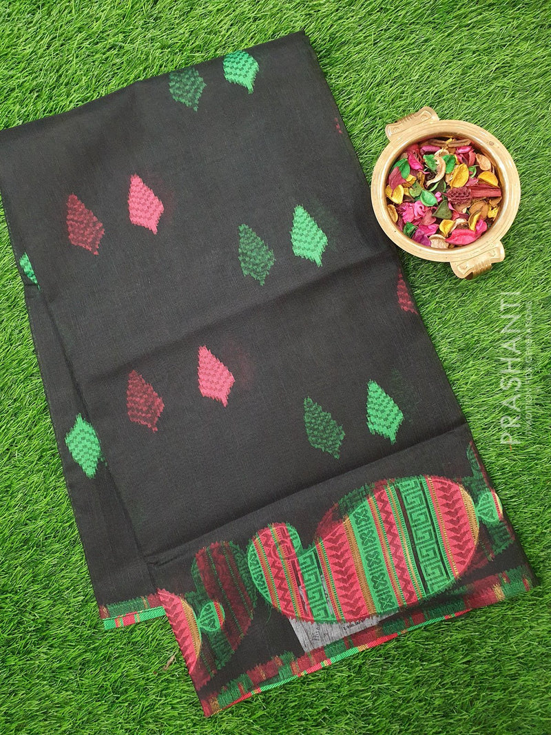 Semi Linen Saree black with thread woven buttas in borderless style