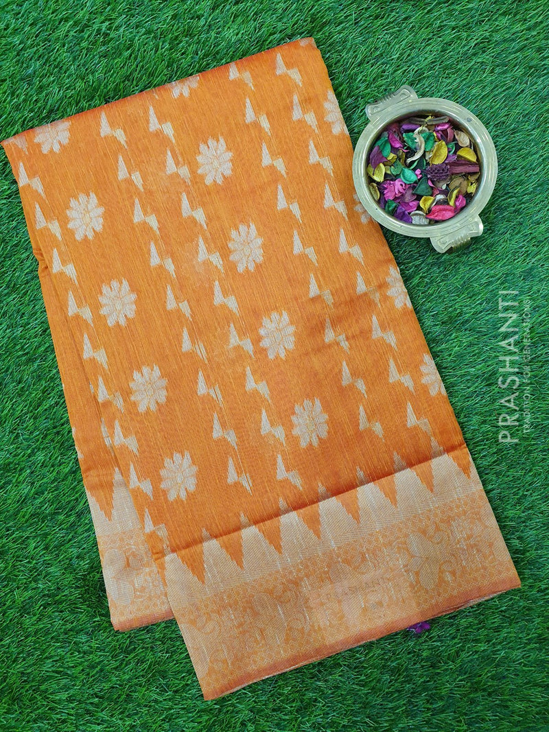 Semi Linen Saree rust orange with thread and zari woven floral buttas and woven border