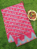 Semi Linen Saree pink with thread and zari woven lines and temple style border