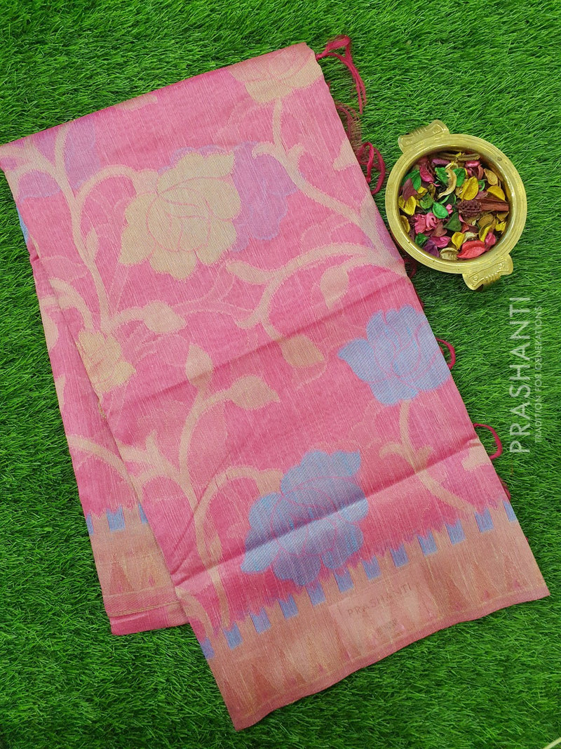 Semi Linen Saree pink with floral thread and zari weaving in borderless style