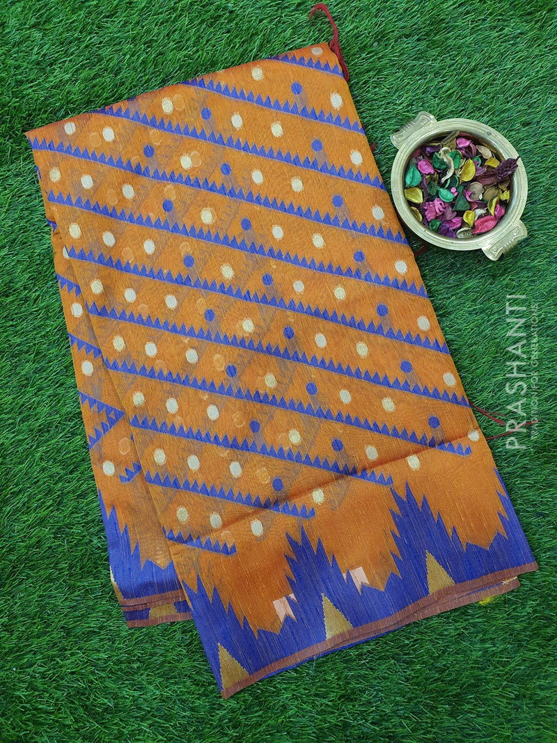 Semi Linen Saree rust orange with thread and zari woven lines and temple style border